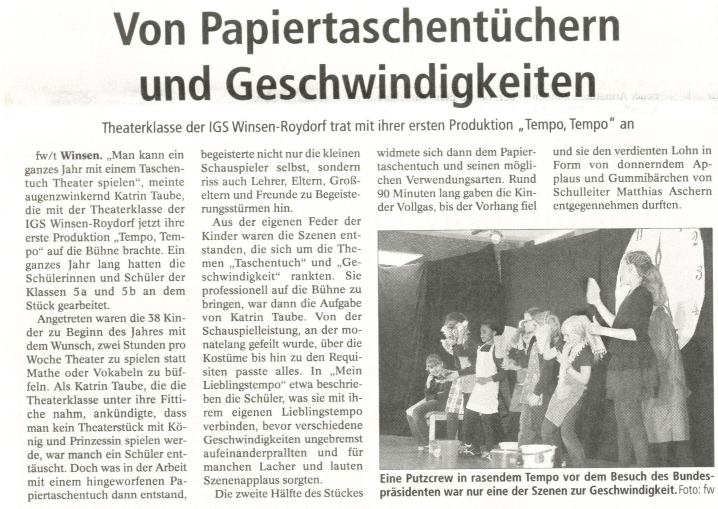 """Zeitungsbericht des Winsener Anzeigers zum Theaterstück """"Tempo ..."""